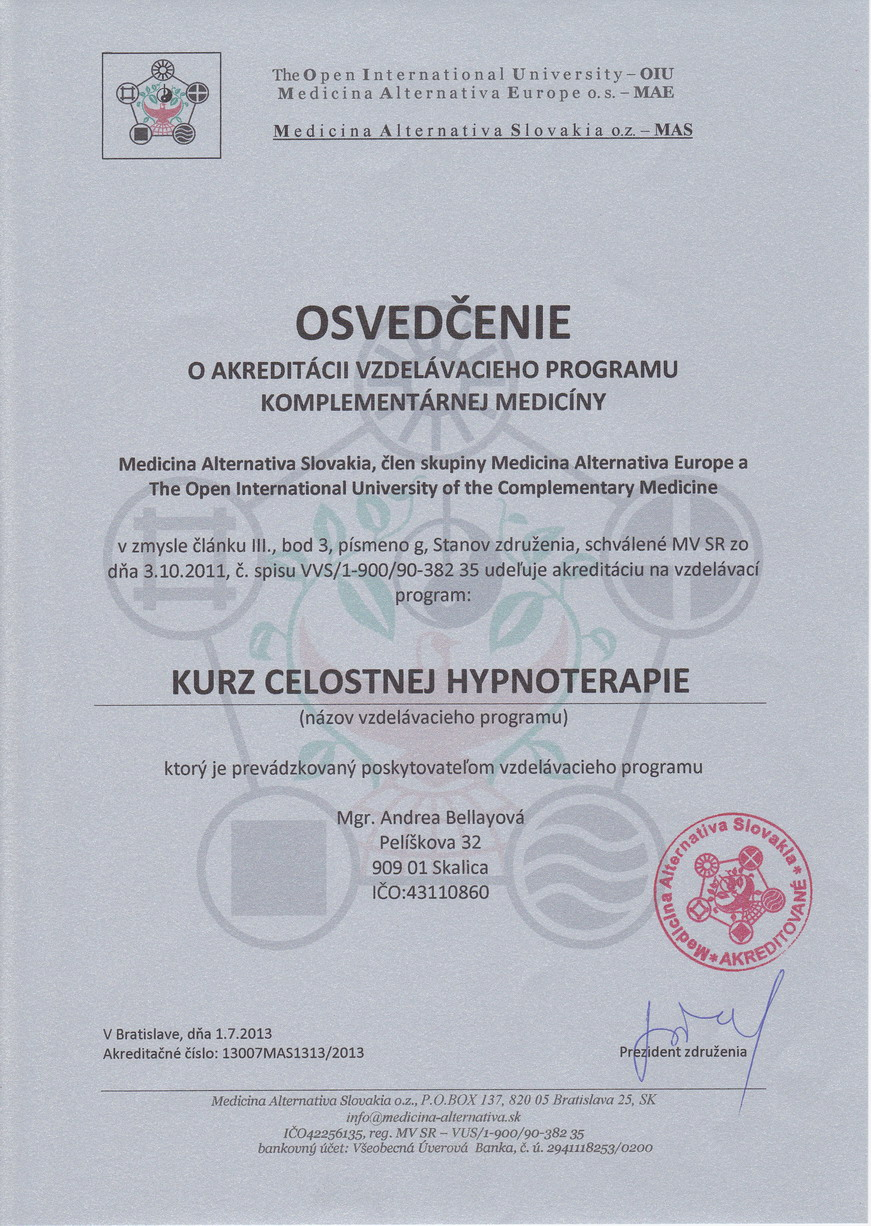 Osvedcenie o akreditacii kurzu CH
